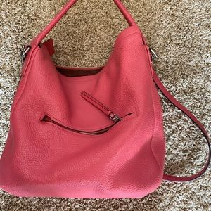 Pink leather coach bucket large bag